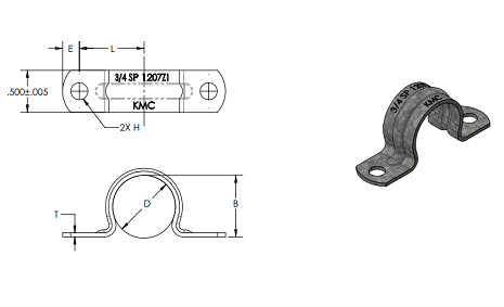 two hole strap tab drawing